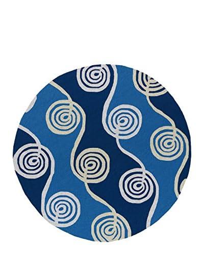 "Kaleen Home & Porch Indoor/Outdoor Rug, Blue, 5' 9"" Round"
