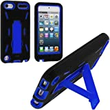 Black / Blue Hybrid Rugged Hard Silicone Case Cover w/ Stand for Apple iPod Touch 5