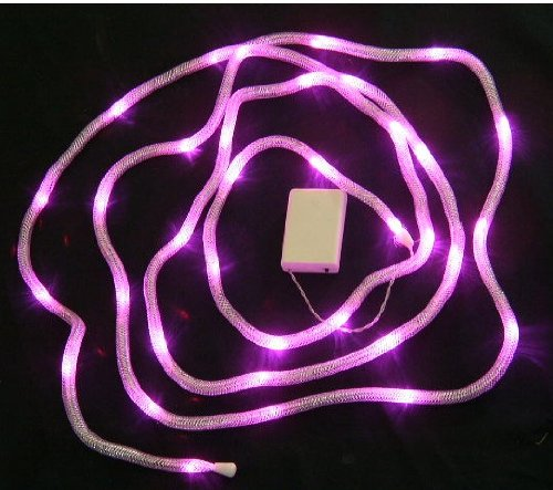 Led Battery Silver Ribbon Snake Tube Lights -35 Pink Lights-14 Feet Long