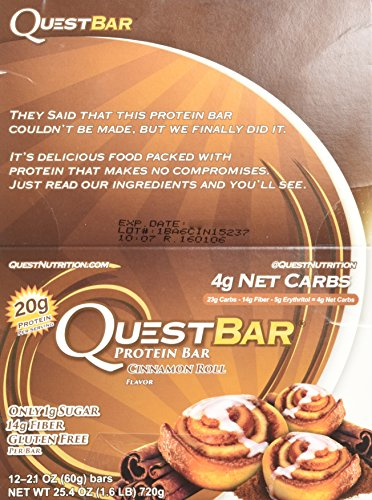 Quest Nutrition - Cinnamon Roll - 2.1oz Box of 12 (2 Pack) (Quest Protein Cinnamon Roll compare prices)