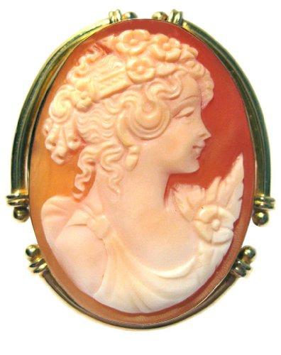 Master Carved, Primavera, Cameo Pin Pendant 18k Gold Italian