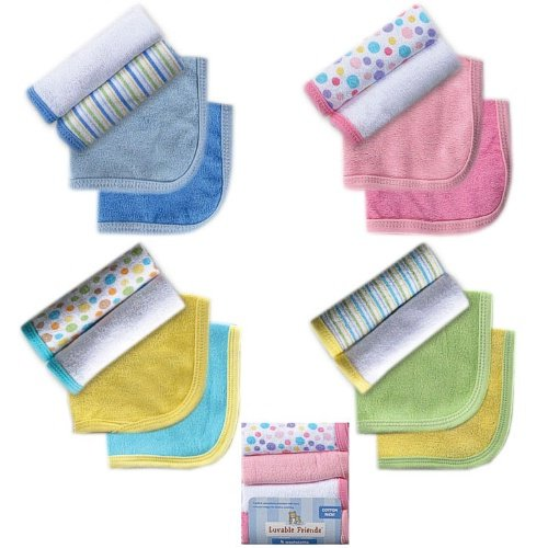 Luvable Friends 4 Pack Washcloths, Green