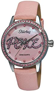 Stuhrling Original Women's 519P.1115A9 Vogue Audrey Peace Swiss Quartz Mother-Of-Pearl Dial Swarovski Crystal Pink Watch
