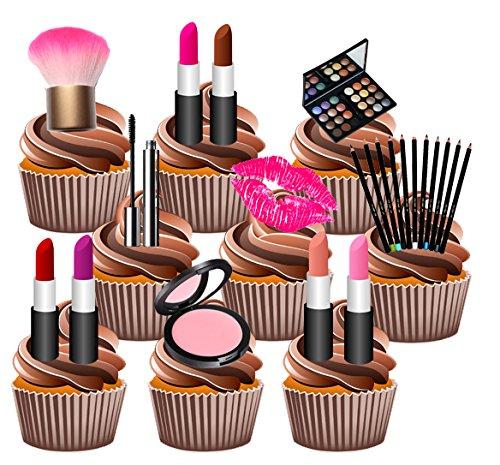 Set di decorazioni commestibili per torta, motivo make-up/cosmetici, per feste, con Toppers verticali (confezione da 36)