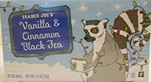 Trader Joe's Vanilla and Cinnamon Black Tea 20 Tea Bags Per Box Limited Edition for the Festive Season