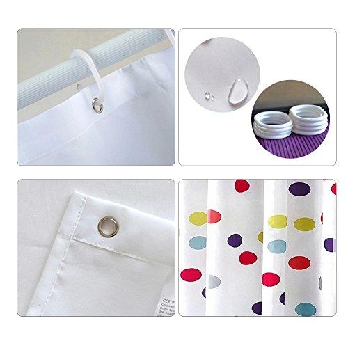 S Zone Colorful Polka Dot Designer White Shower Curtain With Hooks Bathroom Decor Polyester