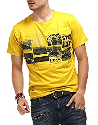Chlorophile Men's Round Neck Cotton T-Shirt (Vin_ Mustard Yellow_Medium)