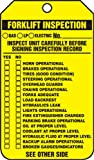 """Accuform Signs TRS336PTP Forklift Status Tag, Legend """"FORKLIFT INSPECTION RECORD (CHECKLIST)/FORKLIFT INSPECTION NOTES"""", 5.75"""" Length x 3.25"""" Width x 0.015"""" Thickness, RP-Plastic, Black on Yellow (Pack of 25)"""
