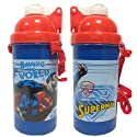 SuperMan: Flip Top Drink Canteen / Bottle with Straw (500ml)