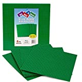 """Brick Building Base Plates By SCS - Large 10""""x10"""" Green Baseplates (4 Pack) - Tight Fit With Lego"""
