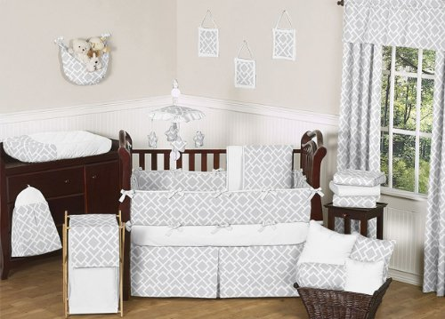 Gender Neutral Gray and White Diamond Grey Baby Boy Girl Geometric Bedding 9pc Crib Set image