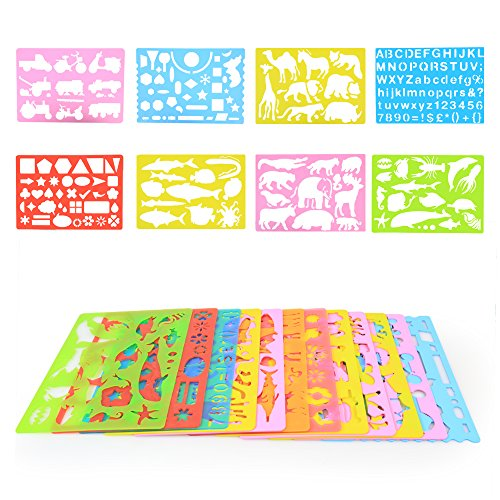 InnooBaby-Drawing-Stencils-Art-Kit-for-Kids-More-than-240-Shapes-Creative-On-the-Go-Toy-Educational-and-Endless-Fun-Colored-Crayons-Pencils-Papers-Eraser-Pencil-Sharpener-All-in-One-Case