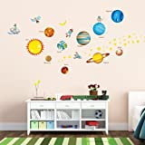 Decowall, DW-1307, Planets in the Space Wall Stickers/Wall decals/Wall tattoos/Wall transfers