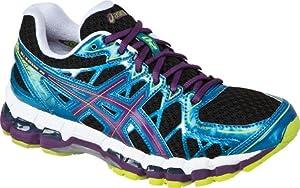 ASICS Women's Gel Kayano 20 Running Shoe,Black/Plum/Blue,8 M US
