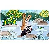 """Maulwurfshop 2605 Melamin Frühstücksbrettchen Brettchen """"Der Kleine Maulwurf"""" 23,5 x 14,5 cm Motiv Hase auf Schulter"""