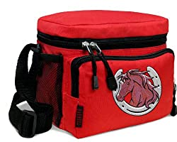 Horse Theme Lunch Box Cooler Bag Insulated Red Horse design - Top Quality Unique Lunchbox or Red Cushioned Travel Bag