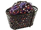 取り外し可能 竹かご 巾着 『A-紫椿』