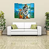 Multiple Frames Printed Krishna With His Flute Like Modern Wall Art Painting - 5 Frames (148 X 76 Cms)