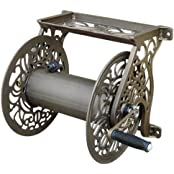 Liberty Garden Products Decorative Non-Rust Cast Aluminum Wall Mounted Garden Hose Reel With 125-Foot Capacity...