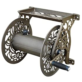 Liberty Garden Products Decorative Non-Rust Cast Aluminum Wall Mounted Garden Hose Reel With 125-Foot Capacity - Antique Finish 704