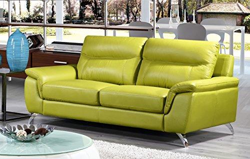 Cortesi Home Chicago Genuine Leather Sofa & Loveseat Set, Green