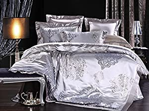 Find Dress 4pc Bedding Sets Romantic Attachment Luxurious Real Silk Bedding Set King Size