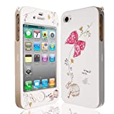 Cute Bow Series White / Pink Full Body Case Cover for Apple iPhone 4 &amp; 4S   GENUINE JAMMYLIZARD phones 