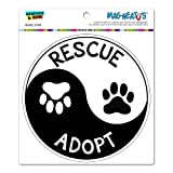 Rescue Adopt Yin Yang - Paw Prints Animals Dogs Cats Circle MAG-NEATO'STM Automotive Car Refrigerator Locker Vinyl Magnet
