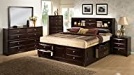 Roundhill Furniture Ankara Bedroom Set, Includes King Bed, Dresser Mirror with 2 Nightstands,…