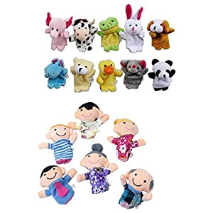 Zoo Animal Hand Sock Glove Finger Puppets Sack Plush Toy