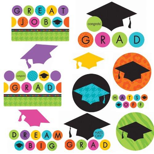 Amscan Mens Colorful Commencement Graduation Value Pack Cutouts Black Medium