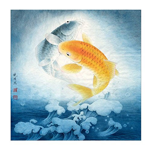 Ink wash giclee prints 2 koi fish wall art painting feng for Where to buy koi fish near me