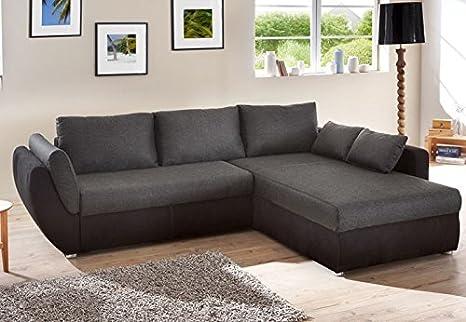 Ecksofa Couch Tifon 272x200cm, schwarz, Bettfunktion Polsterecke Schlafsofa Sofa