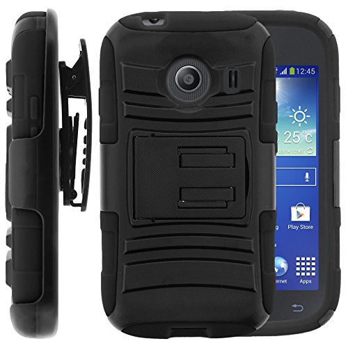 Samsung Galaxy Ace Style Case, Samsung Galaxy Ace Style Holster, Two Layer Hybrid Armor Hard Cover with Built in Kickstand for Samsung Galaxy Ace Style S765C SM-G310 from MINITURTLE | Includes Screen Protector - Black (Galaxy Ace Kickstand Cases compare prices)