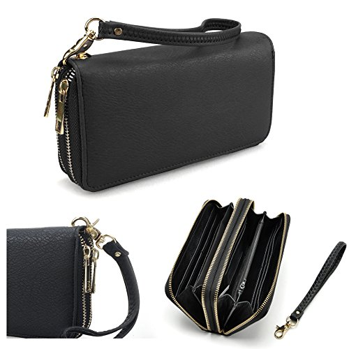 2. Hoxis Multi-purpose Generous Faux Texture Leather Purse Organizer Double Zip Around Wallet with Wristlet