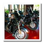 ht_54288_2 Jos Fauxtographee Realistic - A Red Showroom Floor with Two Harley-Davidson® Motorcycles in Black - Iron on Heat Transfers - 6x6 Iron on Heat Transfer for White Material