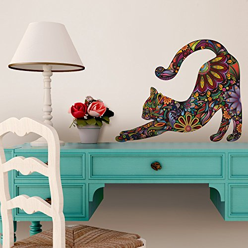 Stretching Cat Wall Sticker - Repositionable Floral Cat Wall Decal (M) front-1019857
