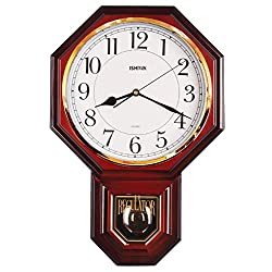 Traditional Classic Schoolhouse Pendulum Faux Wood Wall Clock Chimes Every Hour With Westminster Melody, Made in Taiwan, 4AA Batteries Included - PP0258-3 (Red Mahogany)