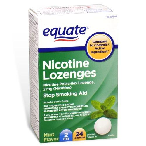 Equate – Nicotine Lozenge 2 mg, Stop Smoking Aid, Mint Flavor, 24 Lozenges