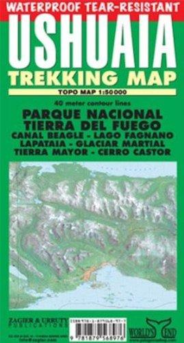 Ushuaia Waterproof Trekking Map: Parque Nacional Tierra Del Fuego, Lapataia, Beagle Channel