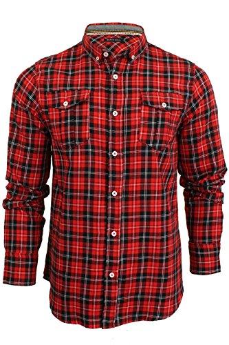 Brave Soul -  Camicia Casual  - A quadri - Con bottoni  - Maniche lunghe  - Uomo Cone - Red-Black Large
