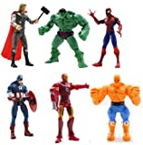 Marvel The Avengers Heros Hulk Ben Grimm Iron Man Thor Figures 6 Pcs Toys