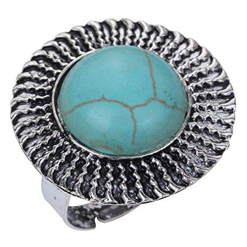 Yazilind Jahrgang Retro Stil Runde Rimous Türkis Inlay tibetischen Silber Big Ring geschnitzt Big Ring Verheiratet