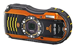 Pentax WG-3 Optio Kompaktkamera (7,6 cm (3 Zoll) LCD-Display, 16 Megapixel Kamera, 4-fach opt. Zoom, Full HD, micro HDMI, USB 2.0) orange