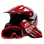 Youth Motocross ATV Dirt Bike MX Helmet, Goggles and Gloves, Red Spiderman, Small