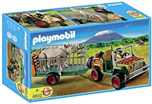 Playmobil 4832 African Wild Life Set Rangers Vehicle with Rhino