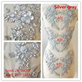 Hand Beaded Flower Sequence 3D Lace Applique Motif Sold by 3 Pairs Great for DIY Decorated Craft Sewing Costume Evening Bridal Top A6 (Silver) (Color: Silver)