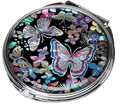 Best Cheap Deal for Mother of Pearl Butterfly Flower Double Compact Cosmetic Makeup Handbag Pocket Beauty Purse Mirror, 3.2 Ounce from Antique Alive - Free 2 Day Shipping Available