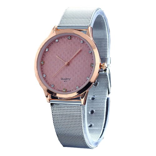 2013newestseller Brand Womage Watches Mens Womens Unisex Stainless Steel Band Fashion Watches on Sales Size L Pink(Golden Side Silver band) image