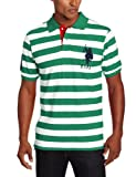 U.S. Polo Assn. Mens Two Color Medium Stripe Pique Polo